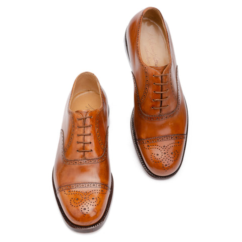"SILVANO LATTANZI ""EG4"" Cognac 5 Eyelet Half-Brogue Oxford Dress Shoes NEW US 8.5"