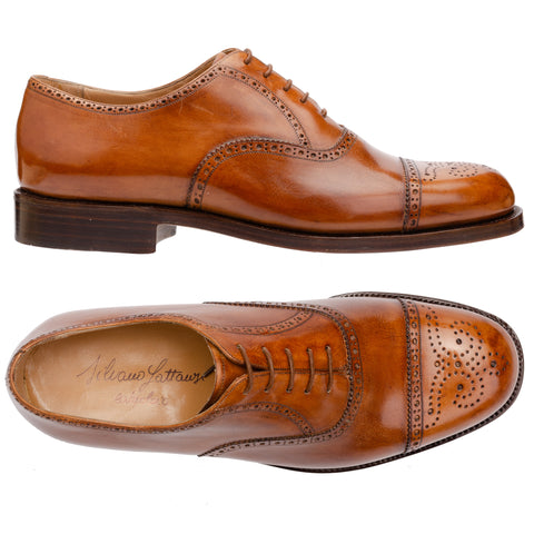 "SILVANO LATTANZI ""EG4"" Cognac 5 Eyelet Half-Brogue Oxford Dress Shoes NEW US 9"