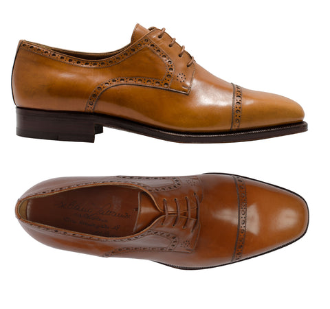 "SILVANO LATTANZI ""FIBBIA"" Cognac Cap Toe Derby Classic Dress Shoes NEW 8"