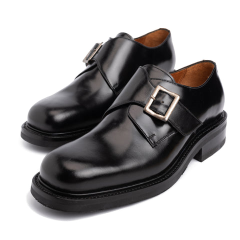 "SILVANO LATTANZI ""FRANCESINA"" Black Single Monk Dress Shoes NEW US 8"