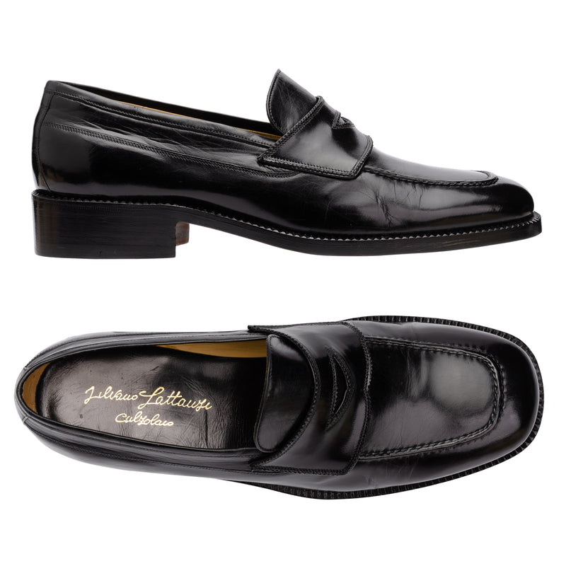 "SILVANO LATTANZI ""Angelo"" Handmade Black Leather Moc Toe Penny Loafer Shoes NEW"