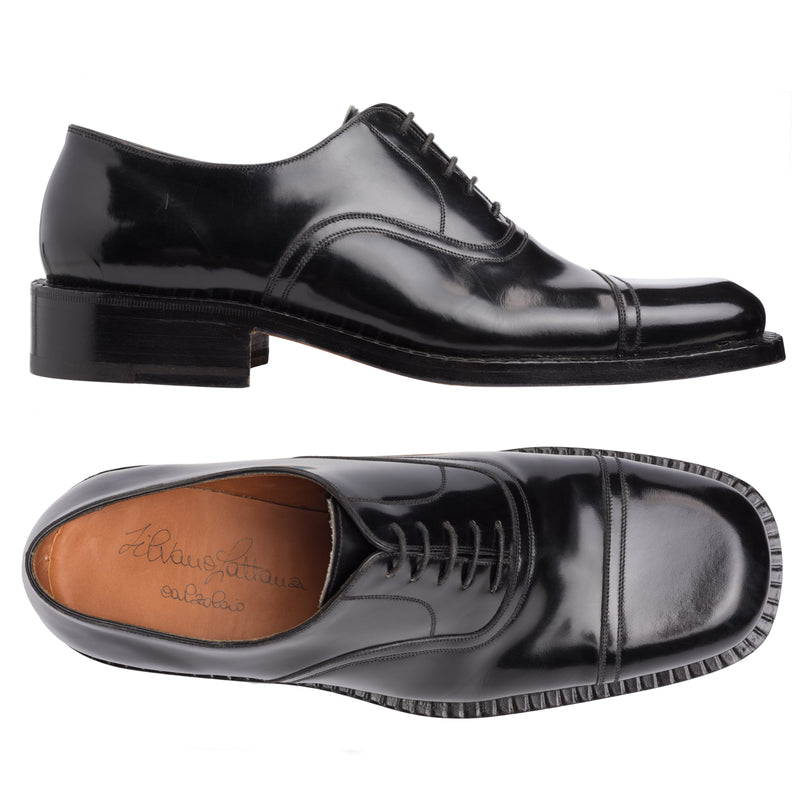 SILVANO LATTANZI Handmade Black Leather 5 Eyelet Oxford Dress Shoes NEW US 9