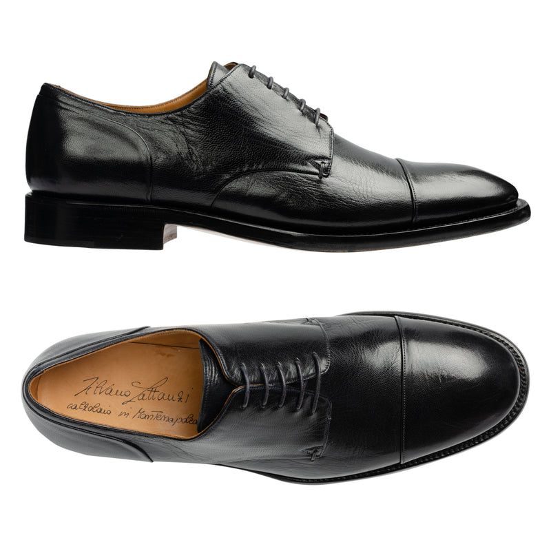 SILVANO LATTANZI Handmade Black Leather Cap Toe Derby Dress Shoes NEW US 9.5