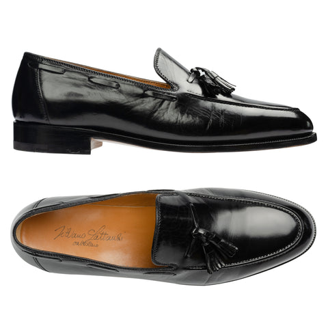 SILVANO LATTANZI Handmade Black Leather Moc Toe Tassel Loafer Shoes NEW US 9.5