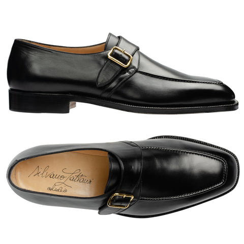 SILVANO LATTANZI Handmade Black Leather Single Monk Dress Shoes NEW US 10