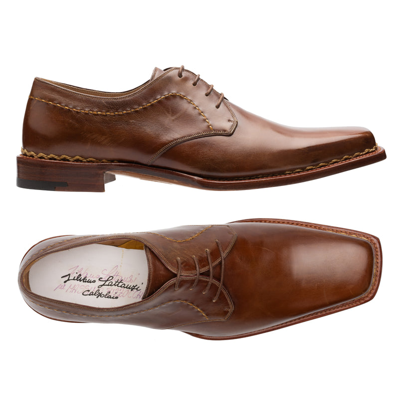 SILVANO LATTANZI Handmade Brown 4 Eyelet Derby Dress Shoes NEW US 9