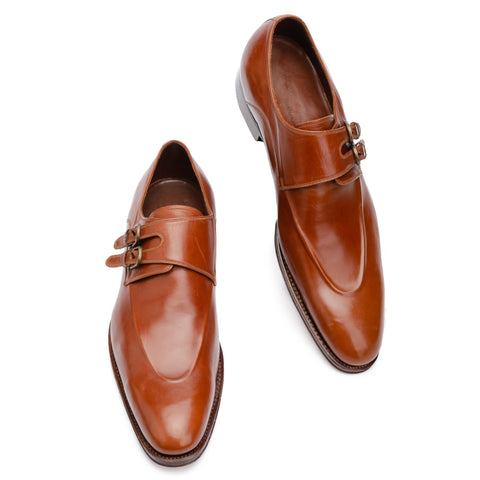 SILVANO LATTANZI Handmade Brown Double Monk Dress Shoes NEW US 9.5