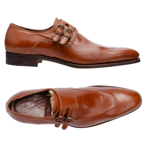 SILVANO LATTANZI Handmade Brown Double Monk Dress Shoes NEW US 9