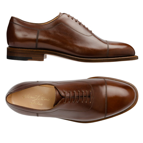 SILVANO LATTANZI Handmade Brown Leather Cap Toe Oxford Dress Shoes NEW US 9.5