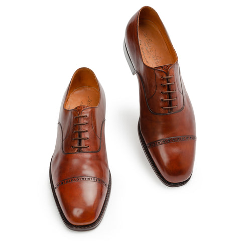 SILVANO LATTANZI Handmade Brown Leather Cap Toe Oxford Dress Shoes NEW US 10.5