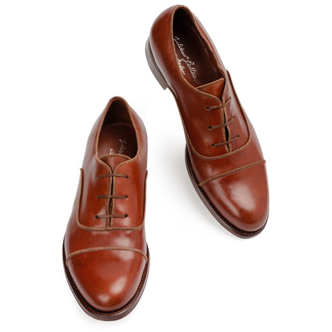 SILVANO LATTANZI Handmade Brown Leather Cap Toe Oxford Dress Shoes NEW US 9