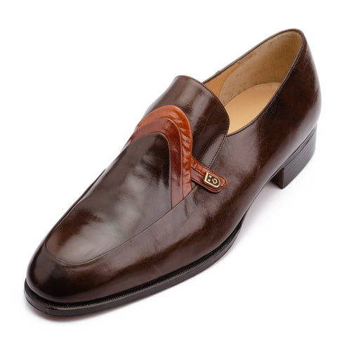 SILVANO LATTANZI Handmade Brown Leather Loafer Shoes NEW US 8