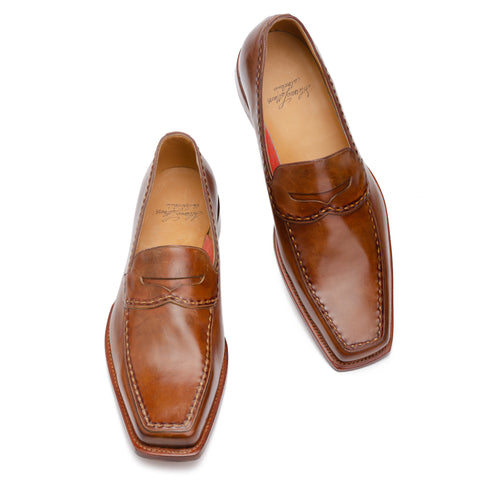 SILVANO LATTANZI Handmade Brown Leather Moc Toe Penny Loafer Shoes NEW US 11.5