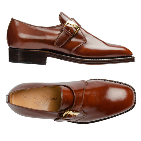 "SILVANO LATTANZI ""Lomestar"" Handmade Cordovan Color Single Monk Dress Shoes NEW"