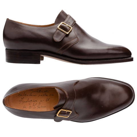 SILVANO LATTANZI Handmade Brown Leather Single Monk Dress Shoes NEW US 8.5