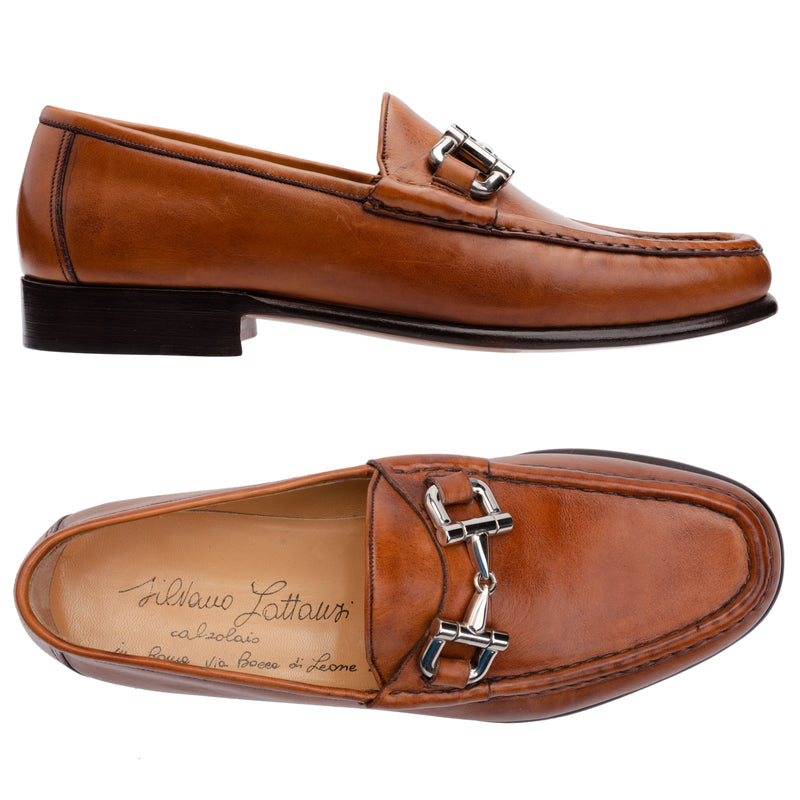 SILVANO LATTANZI Cognac Leather Equestrian Horsebit Loafer Shoes NEW US 7