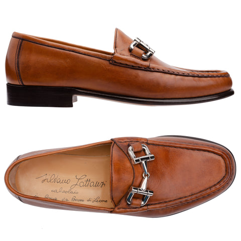 SILVANO LATTANZI Cognac Leather Equestrian Horsebit Loafer Shoes NEW US 7.5