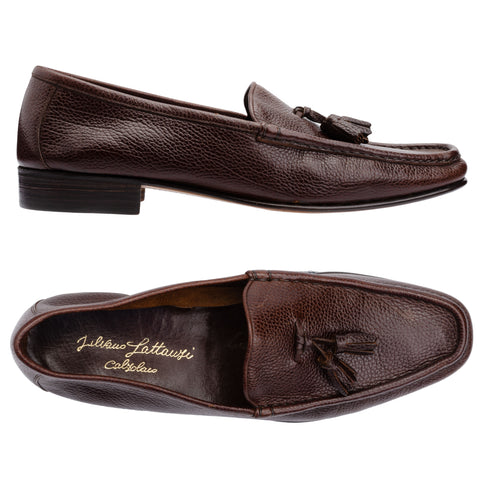 SILVANO LATTANZI Handmade Brown Scotchgrain Leather Tassel Loafer Shoes NEW 8.5