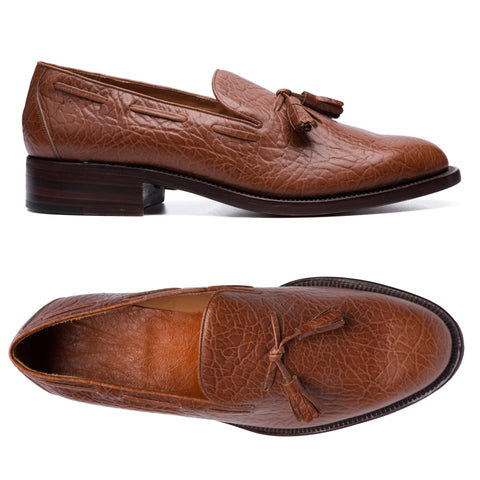 SILVANO LATTANZI Handmade Camel Skin Leather Tassel Loafer Shoes NEW US 8