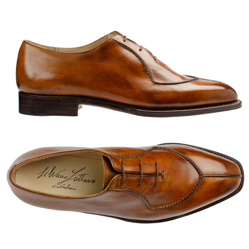 SILVANO LATTANZI Handmade Chestnut Leather Oxford Dress Shoes NEW US 9