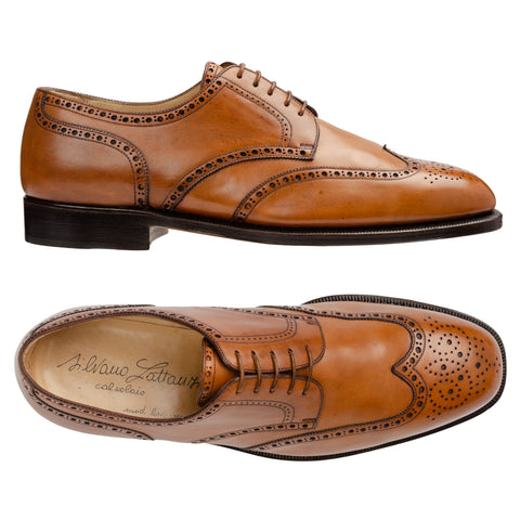 SILVANO LATTANZI Handmade Chestnut Leather Wingtip Brogue Derby Shoes NEW 9.5
