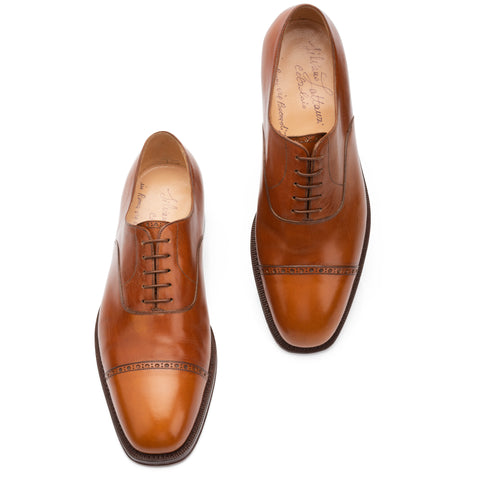 SILVANO LATTANZI Handmade Cognac 5 Eyelet Cap Toe Oxford Dress Shoes NEW US 10