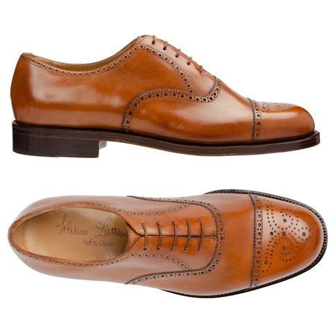 SILVANO LATTANZI Handmade Cognac Leather Cap Toe Oxford Dress Shoes NEW US 10