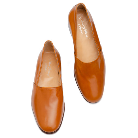 SILVANO LATTANZI Handmade Cognac Opera Loafer Slip-on Shoes NEW US 10