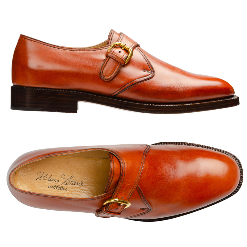 SILVANO LATTANZI Handmade Cognac Leather Single Monk Dress Shoes NEW US 10.5