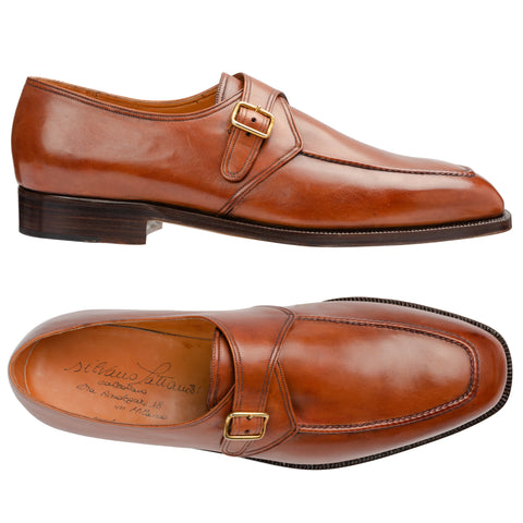 SILVANO LATTANZI Handmade Cognac Leather Single Monk Shoes NEW US 10.5