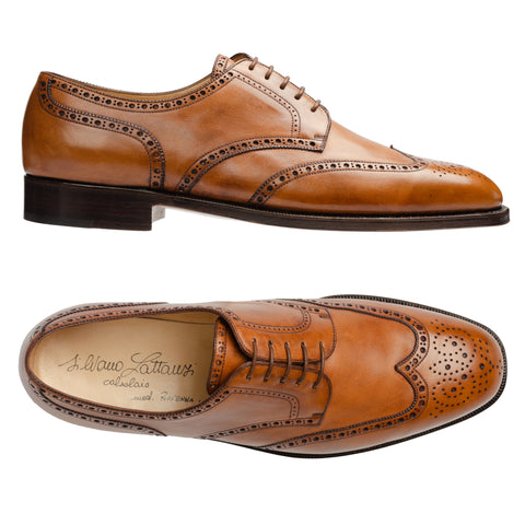 SILVANO LATTANZI Handmade Cognac Leather Wingtip Derby Dress Shoes NEW 10.5
