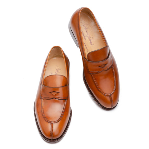 SILVANO LATTANZI Handmade Cognac Moc Split Toe Penny Loafer Shoes NEW US 6