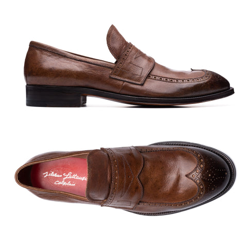 SILVANO LATTANZI Handmade Leather Wingtip Medallion Loafer Shoes NEW US 10
