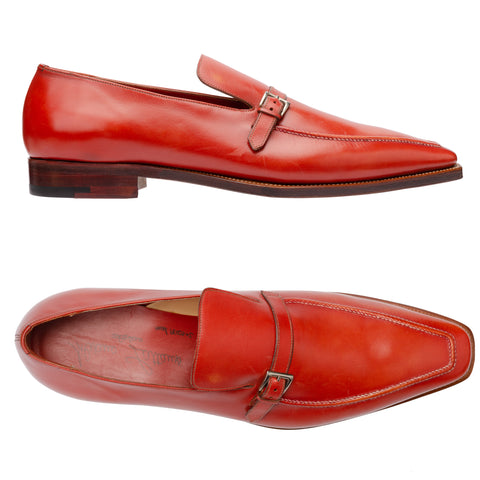 SILVANO LATTANZI Handmade Red Leather Moc Toe Buckle Loafer Shoes NEW US 9