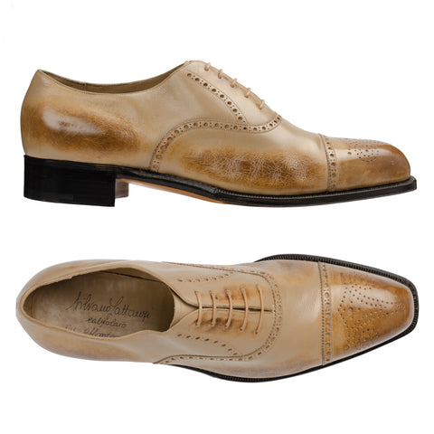 SILVANO LATTANZI Handmade Tan Burnished Leather Oxford Dress Shoes NEW US 11.5