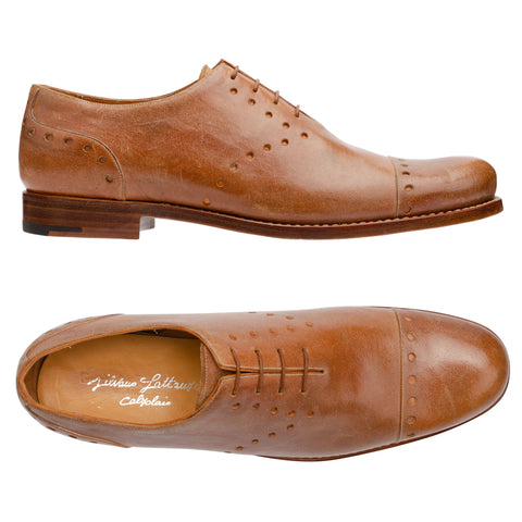 SILVANO LATTANZI Handmade Tan Cowhide 4 Eyelet Cap Toe Oxford Shoes NEW US 9