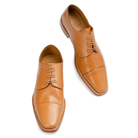 SILVANO LATTANZI Handmade Tan Leather Cap Toe Derby Shoes NEW US 9