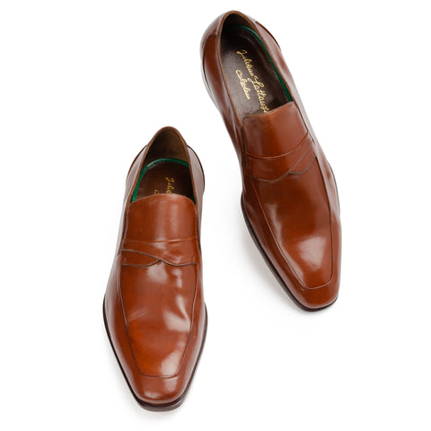"SILVANO LATTANZI ""Hermanus"" Brown ""Skin Stitched"" Leather Loafer Shoes NEW US 9."
