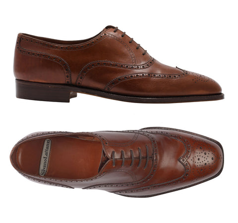 "SILVANO LATTANZI ""PANTOFOLA ROSSO"" Brown Wing Tip Oxford Dress Shoes NEW 9"
