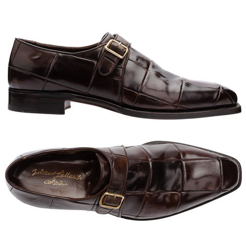 "SILVANO LATTANZI ""Puzzle"" Cordovan Single Monk Dress Shoes NEW US 11.5"