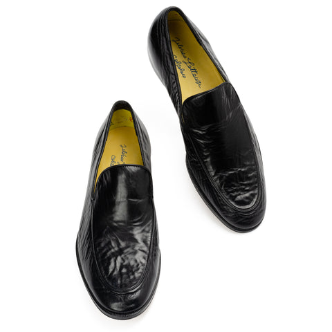 "SILVANO LATTANZI ""Ranieri"" Handmade Black Leather Unlined Loafer Shoes NEW 9"