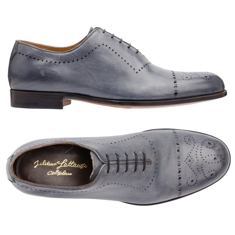 SILVANO LATTANZI Steel Blue 5 Eyelet Medallion Wholecut Dress Shoes NEW US 8.5