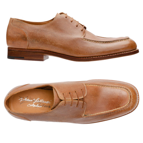 SILVANO LATTANZI Tan Cowhide 4 Eyelet Moc Toe Derby Dress Shoes NEW US 9