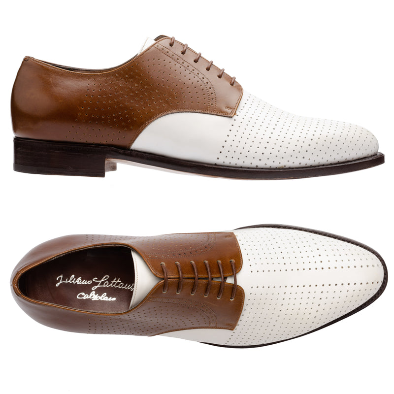 SILVANO LATTANZI White-Brown Perforated Dandy Spectator  Dress Shoes NEW US 8.5