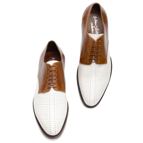 SILVANO LATTANZI White-Brown Perforated Dandy Spectator  Dress Shoes NEW US 8
