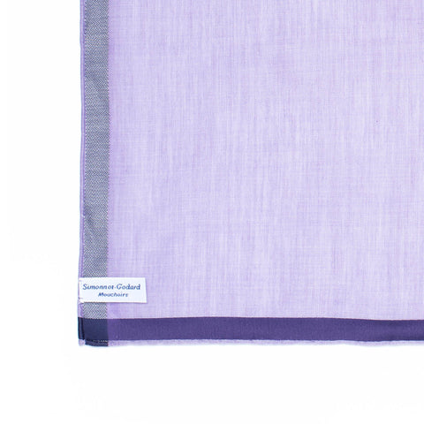 SIMONNOT GODARD Lavender Cotton with Satin Pocket Square NEW 30cm x 30cm
