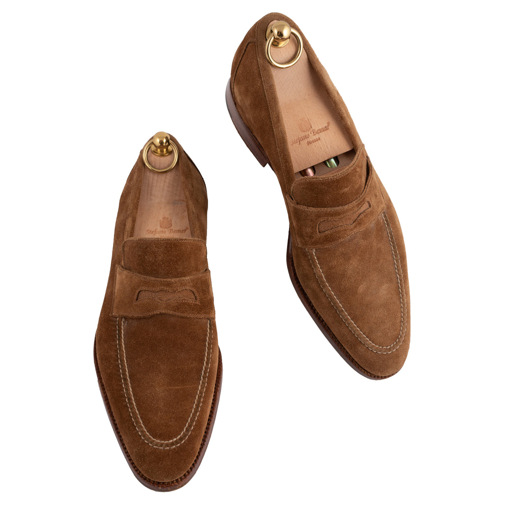 STEFANO BEMER Handmade Brown Leather Suede Penny Loafers with Trees