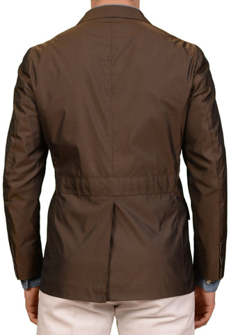 STILE LATINO Napoli Shiny Khaki Polyester Thin Jacket Blazer US 38 NEW EU 50