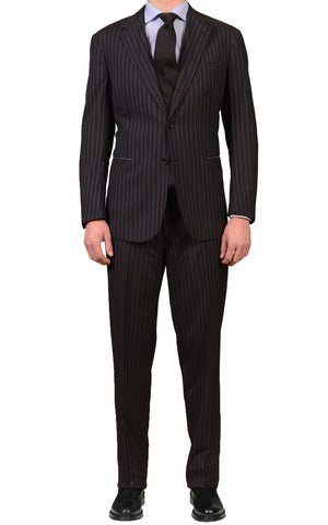 STILE LATINO Navy Blue Striped Wool Super 120's Suit US 42 44 NEW EU 54