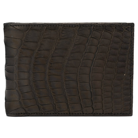 SUTOR MANTELLASSI Hand-Sewn Brown Crocodile Leather Card Holder Wallet NEW